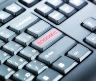 Tastatur mit BOOM Knopf Stockfotos