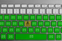 Tastatur mit dem gelben E-Mail-Virusknopf, der mit grüner E-Mail umgeben wird, knöpft lizenzfreie stockbilder