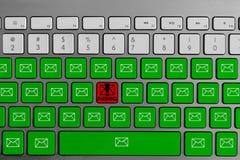 Tastatur mit dem roten phishing Knopf, der mit grüner E-Mail umgeben wird, knöpft lizenzfreies stockbild
