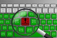 Tastatur mit dem roten phishing Knopf umgeben mit grünen E-Mail-Knöpfen und -lupe lizenzfreie stockbilder