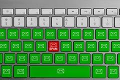 Tastatur mit dem roten Spam-E-Mail-Knopf, der mit grüner E-Mail umgeben wird, knöpft lizenzfreies stockfoto