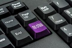 Tastatur mit dem Wort keine Krise geschrieben auf einen Knopf Stockfoto