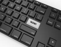Tastatur mit einem hervorgehobenen Knopf, der jetzt sagt! lizenzfreie abbildung