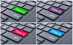 Tastatur mit folgen uns Knopf Stockfotos