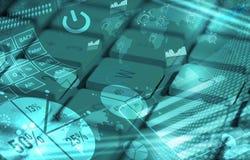 Tastatur mit glühenden Diagrammen Lizenzfreie Stockfotos