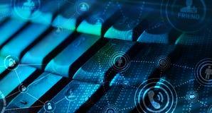 Tastatur mit glühenden Ikonen des Sozialen Netzes Lizenzfreie Stockfotografie