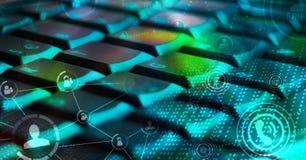 Tastatur mit glühenden Ikonen des Sozialen Netzes Lizenzfreie Stockfotos