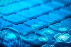 Tastatur mit glühenden Multimediaikonen Lizenzfreies Stockfoto