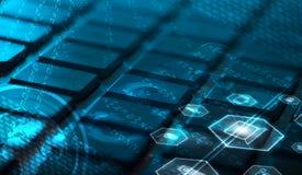 Tastatur mit glühenden Multimediaikonen Stockfoto