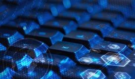 Tastatur mit glühenden Multimediaikonen Stockfotografie