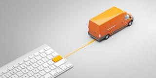 Tastatur mit Lieferungsknopf und -Postauto Kauf von Waren in einem einzelnen Klicken Konzept Abbildung 3D Lizenzfreies Stockbild