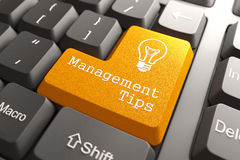 Tastatur mit Management kippt Knopf um. Lizenzfreies Stockfoto
