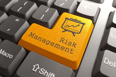 Tastatur mit Risikomanagement-Knopf. Lizenzfreies Stockbild