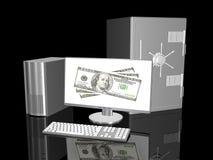 Tastatur und Maus gestalten Zurückstellung für Abschreibungen und zwanzig Dollarscheine stock abbildung