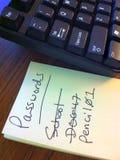 Tastatur und Passwort-Liste Lizenzfreie Stockfotografie