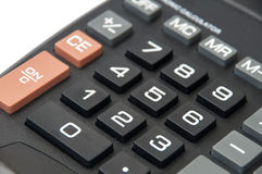 Tastaturen auf dem schwarzen digitalen Taschenrechner Lizenzfreies Stockfoto