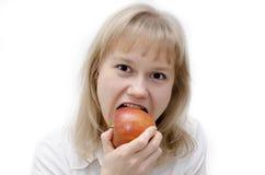 Taste an apple Stock Photo