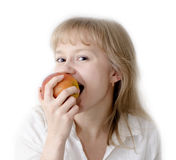 Taste an apple and smile! Royalty Free Stock Photo