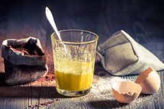 Taste of childhood, egg yolk with sugar Stock Photos