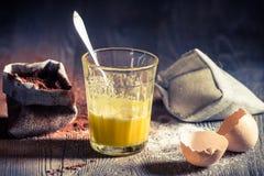 Taste of childhood, egg yolk with sugar Stock Photos