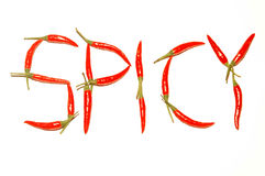 Taste of chilies. 17 chilies form the word spicy royalty free stock images