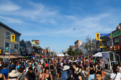 Taste of the Danforth Toronto. TORONTO, CANADA - 10 AUGUST 2014: Large crowds along Danforth Street for the Taste of Danforth Festival in Toronto stock images