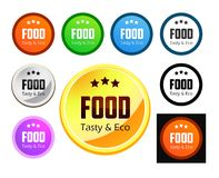 Taste and Eco Food. Set of emblem with caption, Taste and Eco Food, Vector Illustrations isolated on white Royalty Free Stock Photography