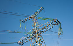 Taste of electricity. Energy transmission from power plant to customers Royalty Free Stock Photo