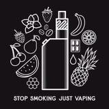 The taste of the electronic cigarette stock illustration