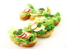 Taste of fresh. Some super tasty sandwiches with salmon and addons on fresh iceberg lettuce Stock Photos