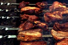 Taste a fried beaf. Taste grilled meat skewers, barbeque Stock Photo