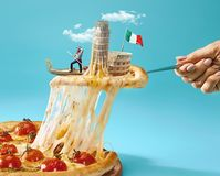 The collage about Italy with female hand, gondolier, pizza and and major sights. Taste Italy concept. The collage about Italy with female hand, gondolier, pizza stock photography