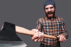 Taste my axe! Stock Photos
