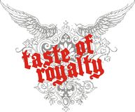 Taste of royalty. Wing consisting of the medieval forms of graphic design arms stock illustration