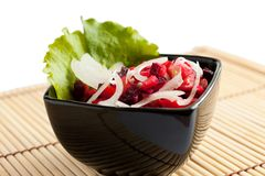 A taste salad of cooked vegetables. Russian salad. Royalty Free Stock Photos