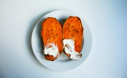 Sweet potato. The taste is something between carrot and pumpkin. Ideal taste is with cream cheese and pepper Stock Photos