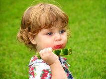 Taste of Summer. Little girl enjoying slice of watermelon stock images