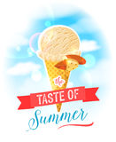 The taste of summer. Bright colorful poster with almond ice cream cone on the sky background. Royalty Free Stock Images