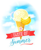 The taste of summer. Bright colorful poster with banana ice cream cone on the sky background. Stock Images