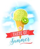 The taste of summer. Bright colorful poster with kiwi ice cream cone on the sky background. Stock Images