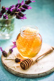 Taste of summer, honey with comb and lavender Royalty Free Stock Image