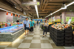 Taste supermarket. HONG KONG - CIRCA NOVEMBER, 2016: inside Taste supermarket. Taste is a chain supermarket in Hong Kong owned by AS Watson stock image