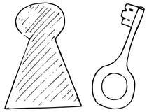 Taste und Schlüsselloch Stockfotografie