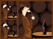 Taste wine. The three steps in tasting a wine barrel cellar with a wine cellar as a stage. The three steps are sight, smell and taste Stock Image