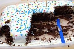 Tasted Chocolate Birthday Cake Royalty Free Stock Photos