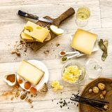 Tasted swiss cheese and food for brunch. Or apperitive instant Royalty Free Stock Photo