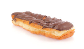 Tasteful Chocolate Eclair isolated on white background Royalty Free Stock Images
