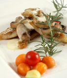 Tasteful dish. A tasteful meat dish with mushrooms and roasted vegetables and cherry tomato Stock Images