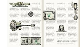 Tasteful, Two Page Spread Layout. Tasteful, Two Page Spread, Money Themed Layout Template Stock Photos