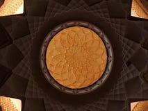 Tastefully украшенный потолок с исламскими геометрическими дизайнами Стоковое Фото